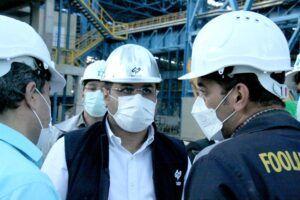 بازدید میدانی مدیرعامل جدید مجتمع فولاد غدیر نی ریز از کارخانه در اولین حضور